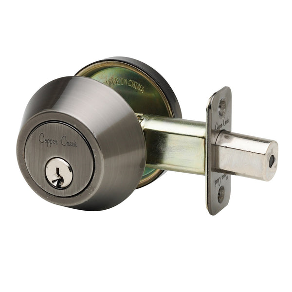 Single Cylinder Deadbolt in Antique Nickel DB2410AN by Copper Creek