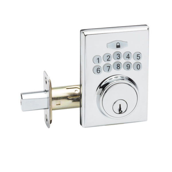 Fashion Electronic Push Button Deadbolt in Polished Stainless DBF3410PS by Copper Creek