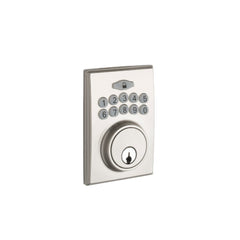 Fashion Electronic Push Button Deadbolt in Satin Stainless DBF3410SS by Copper Creek