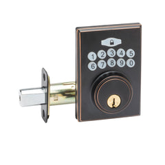 Fashion Electronic Push Button Deadbolt in Tuscan Bronze DBF3410TB by Copper Creek