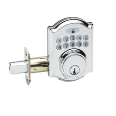 Heritage Electronic Push Button Deadbolt in Polished Stainless DBH3410PS by Copper Creek