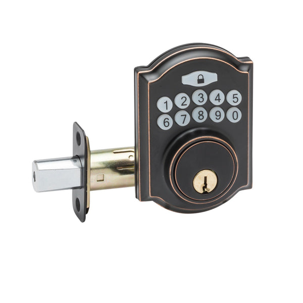 Heritage Electronic Push Button Deadbolt in Tuscan Bronze DBH3410TB by Copper Creek