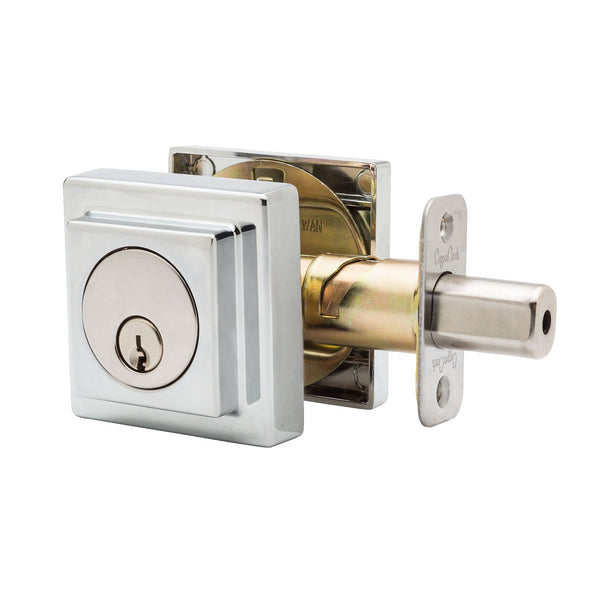 Square Single Cylinder Deadbolt in Polished Stainless DBS2410PS by Copper Creek
