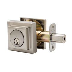 Square Single Cylinder Deadbolt in Satin Stainless DBS2410SS by Copper Creek