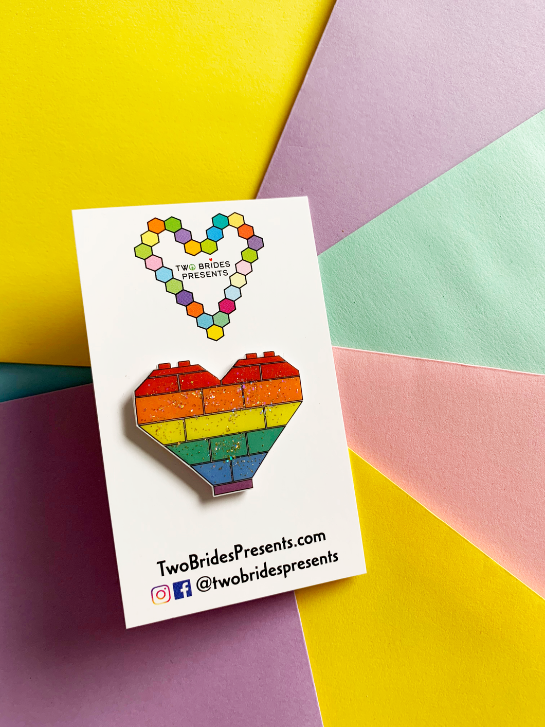 Rainbow Brick Heart Pin