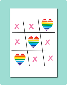 Love and Kisses Greeting Card. Especially designed for Weddings, Engagements, Birthdays + Anniversaries. The artwork is a playful take on our childhood game noughts + crosses / tic-tac-toe.