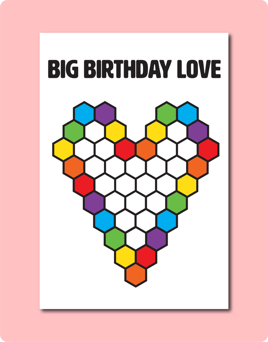 Big Birthday Love Greeting Card | Celebrating LGBTQ Gay Lesbian Birthdays with Beehive love heart and colourful cells