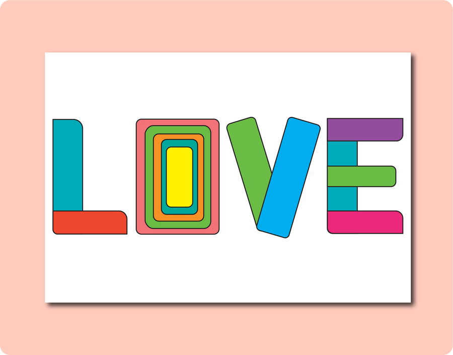 LOVE Greeting Card with letters in block letters and different colours. LGBT Gay Lesbian Wedding Engagement Anniversary and Everyday Occasions Card