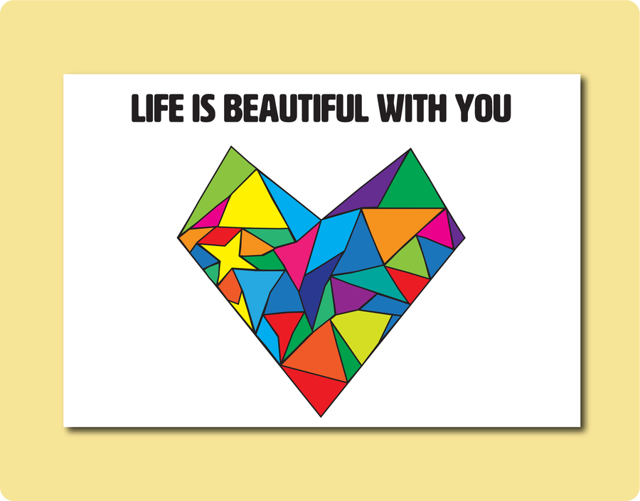 Life is beautiful with you Greeting Card | LGBT Everyday Occasion Card. A love heart shape with many different shapes within the heart.