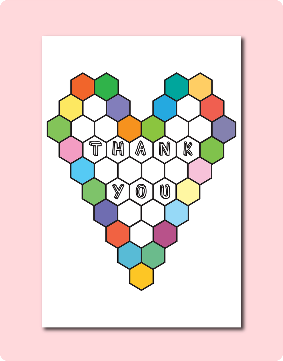 Thank You Greeting Card with Beehive Pastel Colours and words Thank You inside beehive cell. LGBT Gay Lesbian Wedding Engagement Cards