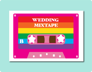 Wedding Mixtape Greeting Card. LGBT Gay Lesbian Same-Sex Wedding Card