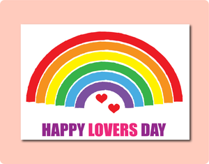 Happy Lover's Day Greeting Card. Rainbow with red love hearts and the words happy lover's day. LGBT Gay Lesbian Valentine's Day Card
