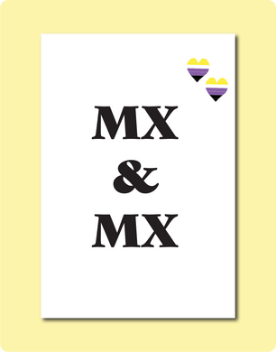 Mx & Mx Non Binary Enby Wedding Greeting Card