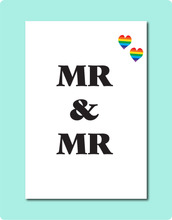 Load image into Gallery viewer, MR & MR LGBTQ Gay Lesbian Wedding Engagement Greeting Card with MR MR letters and two rainbow love hearts in top right corner
