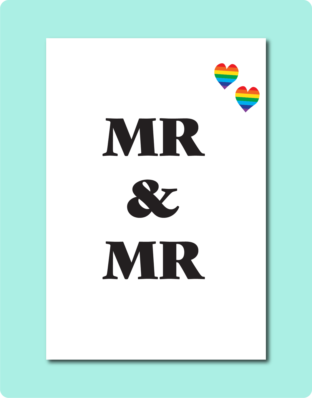 MR & MR LGBTQ Gay Lesbian Wedding Engagement Greeting Card with MR MR letters and two rainbow love hearts in top right corner
