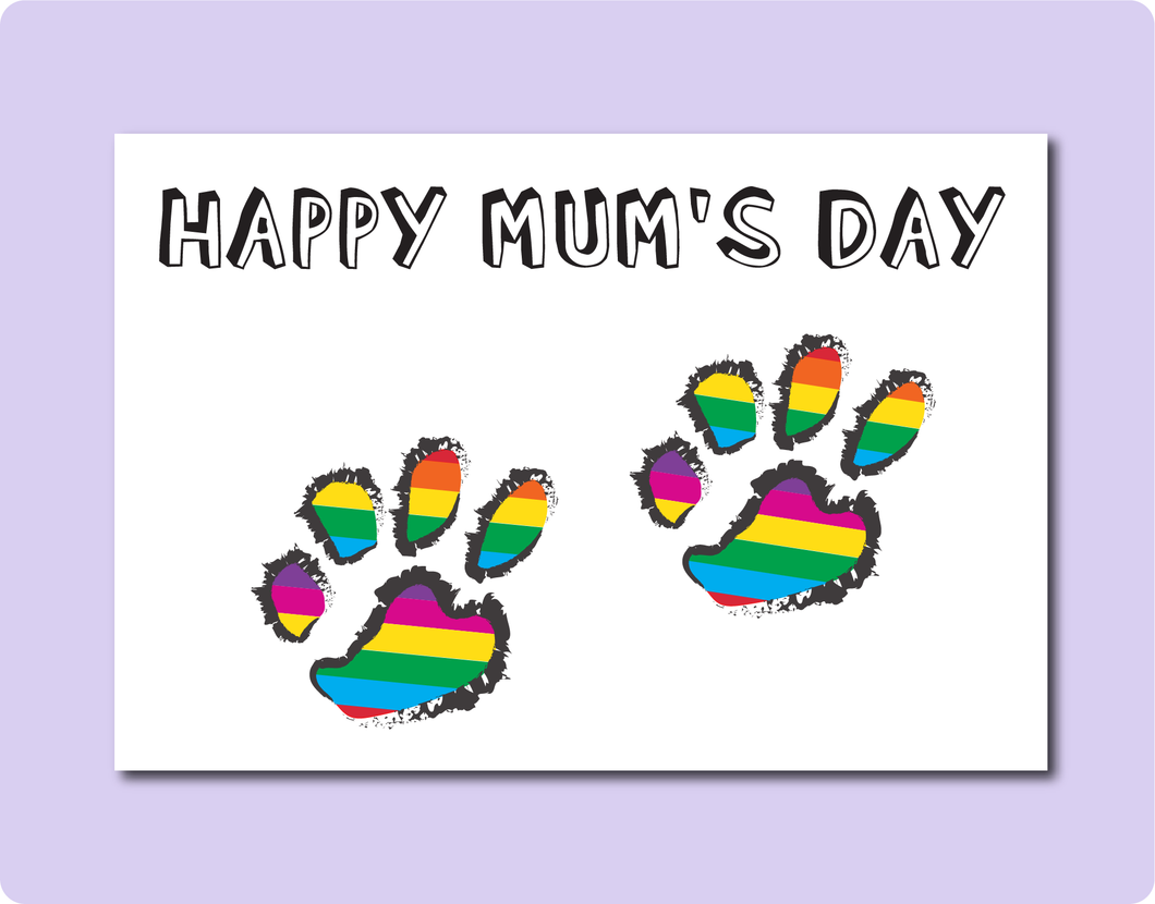 Happy Mother Day Greeting Card with Two Rainbow Dog Cat Paws