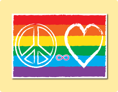 Peace Love Infinity Sign on Rainbow LGBT Flag representing Love Visibility Acceptance Gay Lesbian Greeting Card