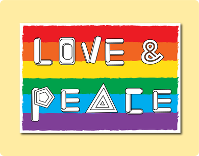 Love & Peace Word Greeting Card. LGBT Wedding Engagement Anniversary Birthday Thank You Love Card with Rainbow flag Gay Lesbian
