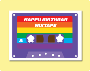 Happy Birthday Mixtape Greeting Card with rainbow stripes. LGBT Gay Lesbian Friend Family.  Music Lovers.