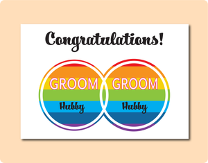 Congratulations to the Grooms Wedding LGBT Gay Greeting Card with interlocking infinity rings and inside is rainbow flag stripes with the words Groom and Hubby in each circle