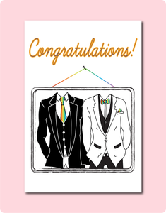Wedding Congratulations Card - couple with Dapper Style in Two Suits| LGBTQ | Made in Brisbane, Australia.