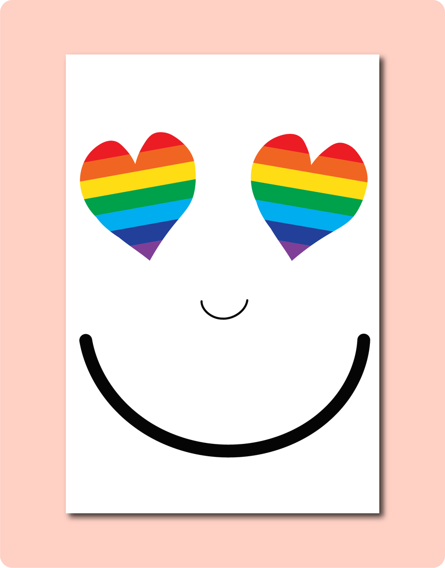 Rainbow Smiles Card. LGBTQ Feel Good Anytime Cards using Australian made paper by LGBTQ in Brisbane.