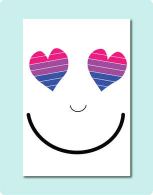 Bisexual Smiles Greeting Card with two love heart eyes with bisexual flag colours pink purple and blue