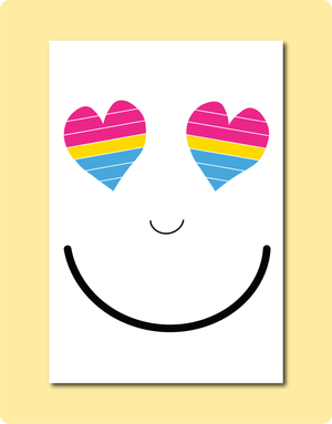 Pansexual Smiles. LGBTQAP Feel Good Greeting Card. A6 size, Australian made paper, envelope included