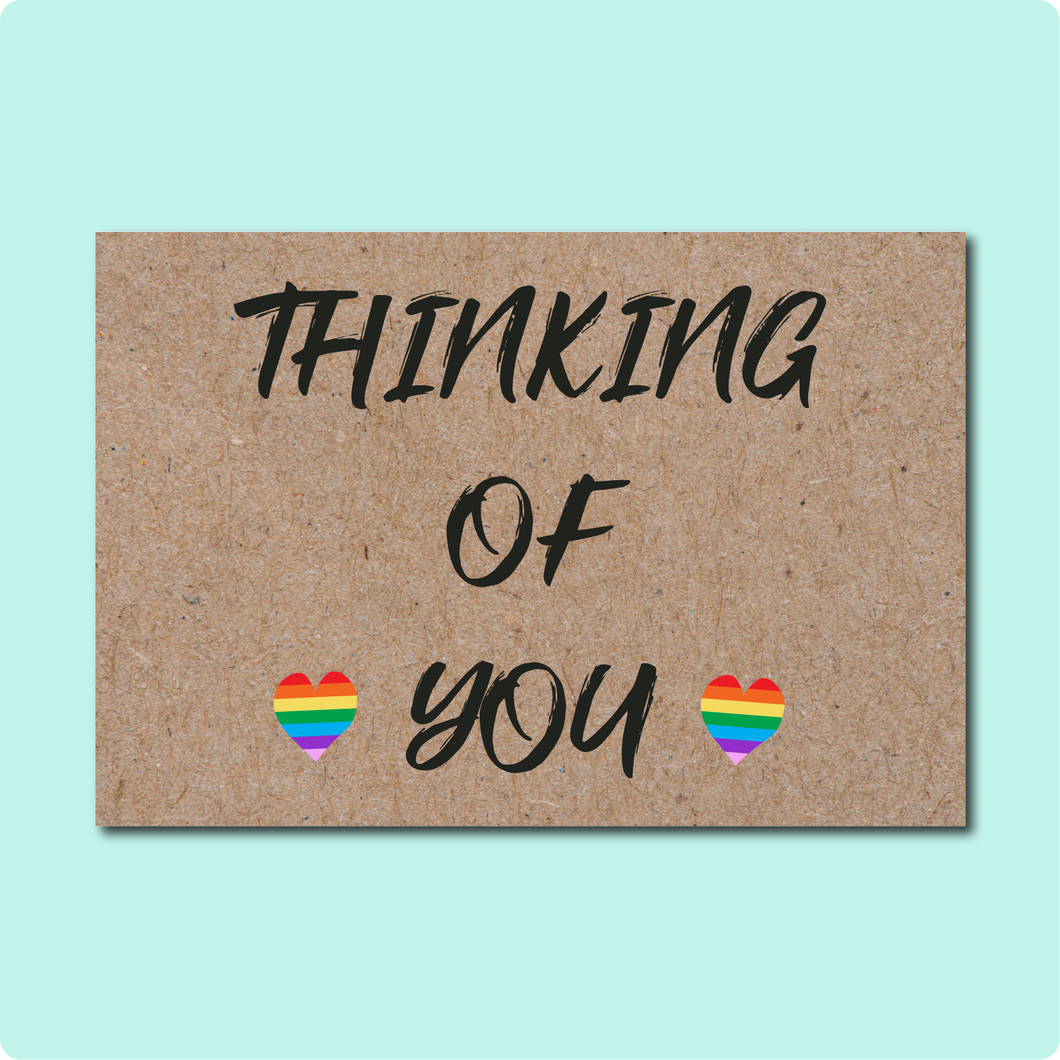 Thinking of You Greeting Card Sending Love Heart Rainbows