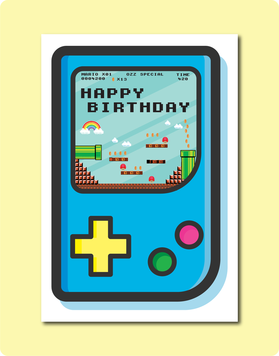 Happy Birthday Retro Gamer Greeting Card similar to Gameboy with Super Mario Bros computer game and addition of rainbow and coins