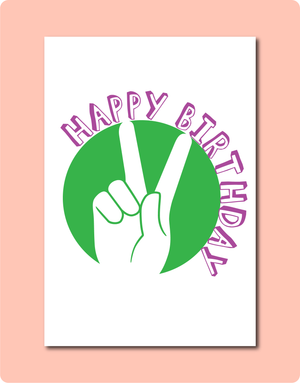 Happy Birthday Peace Sign on Green and Purple Australia Nature Greeting Card