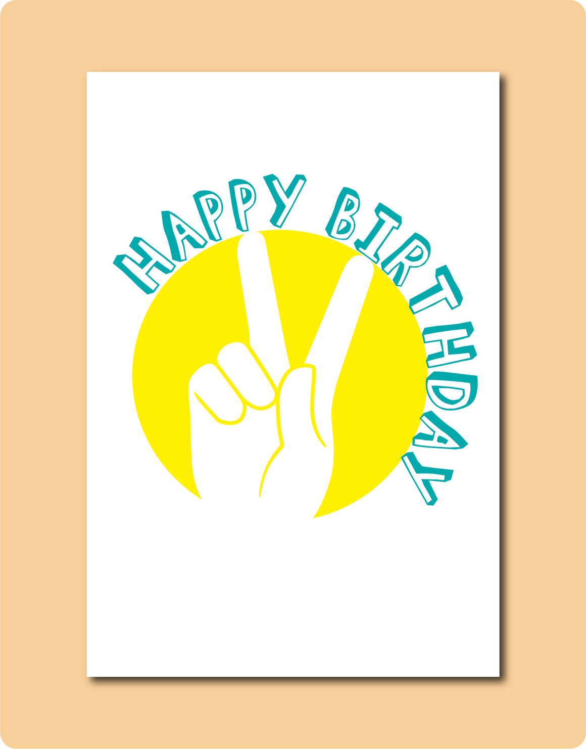 Happy Birthday Peace Sign on Yellow and Turquoise font around sun surf Australia Greeting Card
