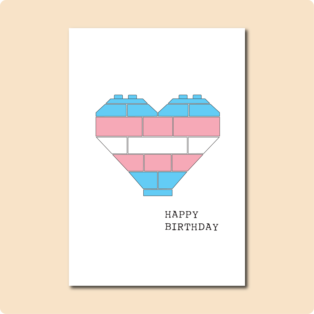 Trans Heart Birthday Card