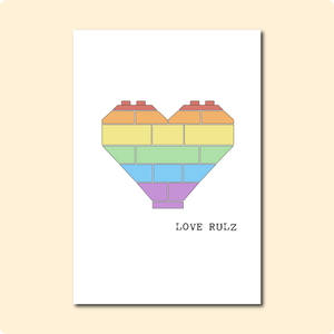 Rainbow Brick Heart Rulz Card