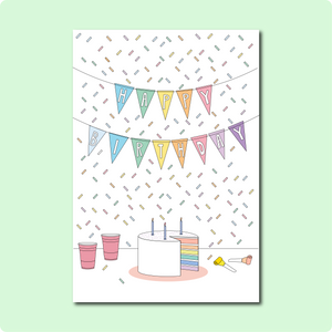 Rainbow Cake Happy Birthday Card