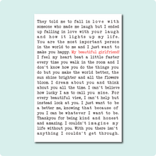 Load image into Gallery viewer, My Beautiful Girlfriend Poem Card