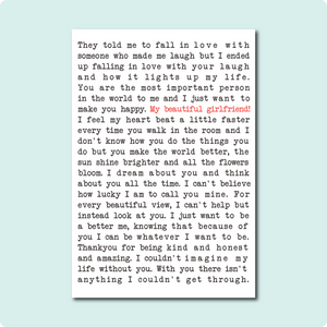 My Beautiful Girlfriend Poem Card