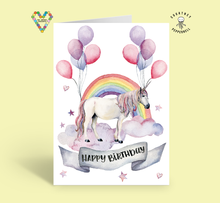 Load image into Gallery viewer, Happy Unicorn Birthday Card ~ Courtney Peppernell X TBP Collab