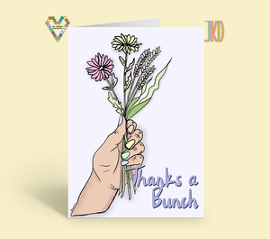 Thanks a bunch greeting card with flowers