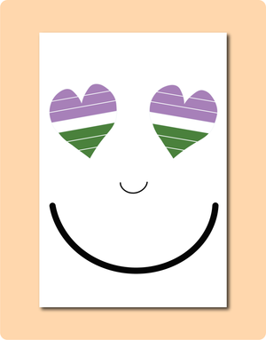 Genderqueer Smiles Greeting Card with two love hearts as eyes in the genderqueer flag colours green white purple