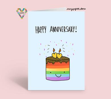Happy Anniversary Rainbow Cake Card