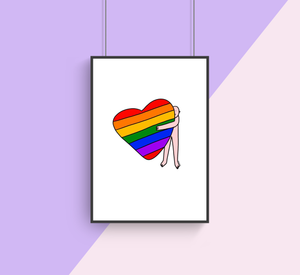 Big Rainbow Hugs A4 Print by Shuturp X TBP Collab