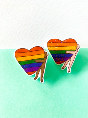 Rainbow Heart Hug Pins by Shuturp X TBP Collab