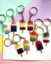 Load image into Gallery viewer, Handmade SwirlPop Pride Flag Colours Key Rings