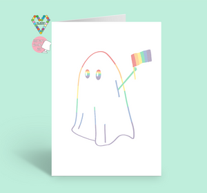 Make Halloween Gay Again with Rainbow Ghost holding up Rainbow Pride Flag