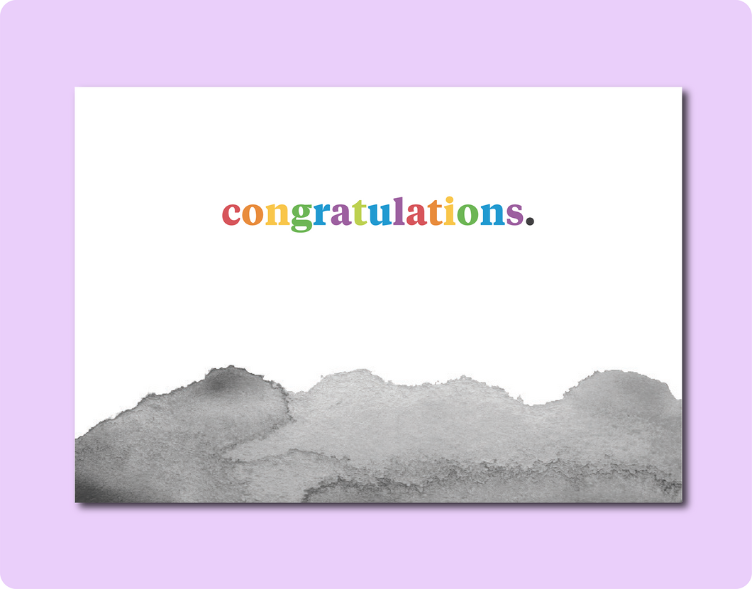Watercolour Congrats Card - Jhn Rvl Dsgns Thngs X TBP