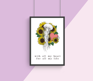With All My Heart A4 Print Collaboration by Two Brides Presents and Courtney Peppernell
