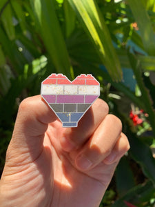 Brick Heart Pin