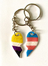Load image into Gallery viewer, BFF Pride Heart Key Rings - Non Binary Left Half, Trans Right Half