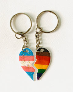 BFF Pride Heart Key Rings - Trans Left Half, People of Colour Right Half